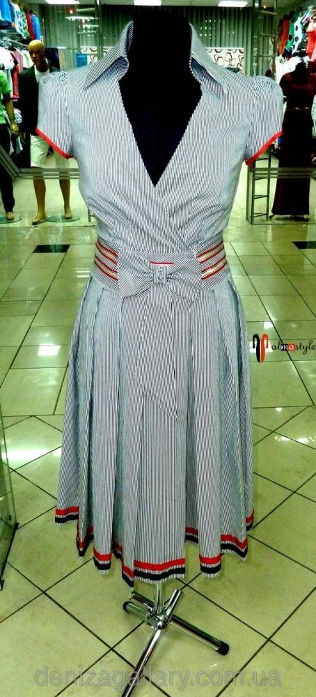 Светлое летнее платье в полоску