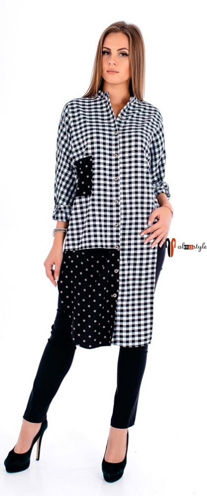 Рубашка, в клетку, длинная, ассиметричные края, украшена пайетками