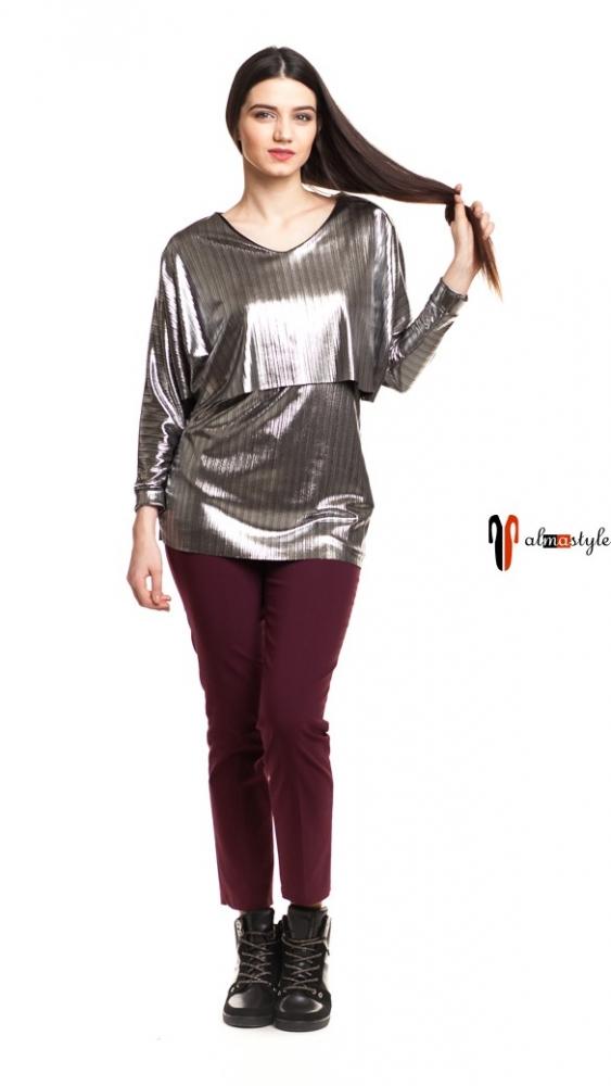 Приталенная серебристая блуза с длинным рукавом