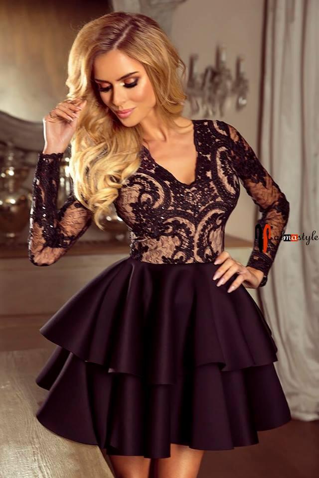 Платье короткое, марсал, длинный рукав, гипюр