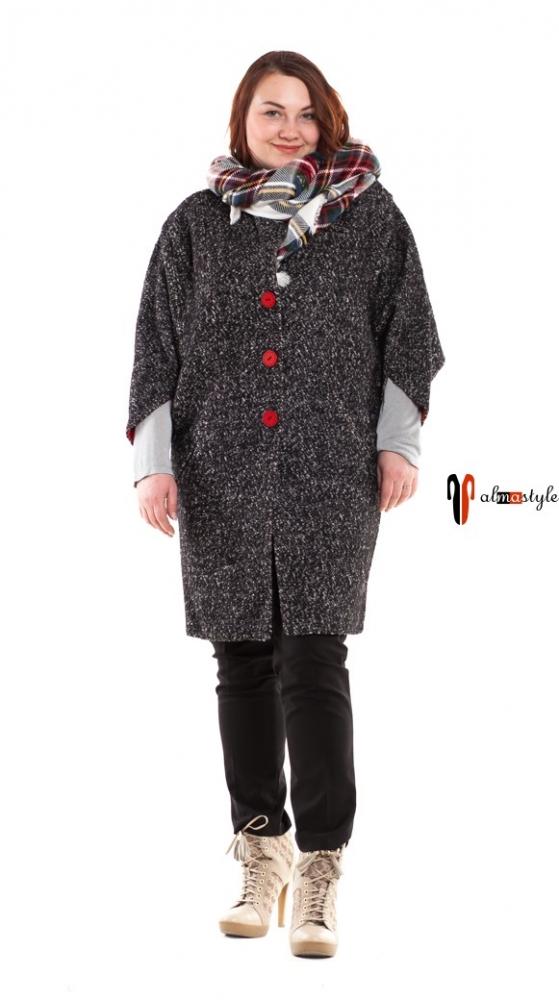 Пальто серое, меланж, рукав 7/8, шерсть 80%