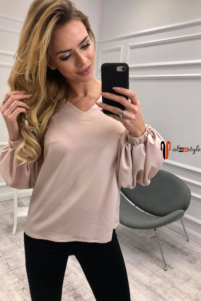 Блузка розовая, с длинным рукавом, фонарик, из шифона