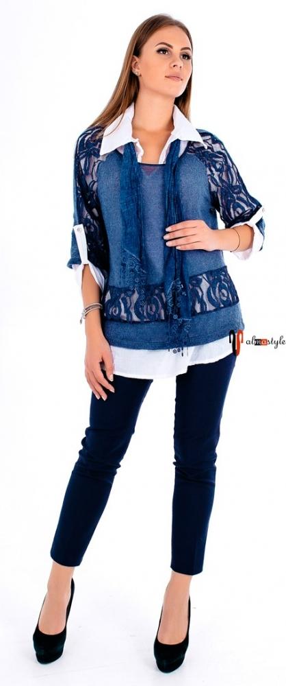 Синий свитер-джемпер-рубашка из мохера и кружева