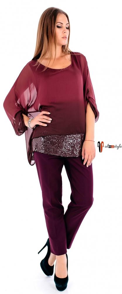 Шелковая бордовая блуза с украшением из пайеток по низу