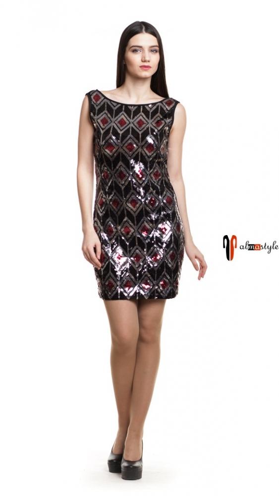 Короткое вечернее платье с пайетками и открытой спиной