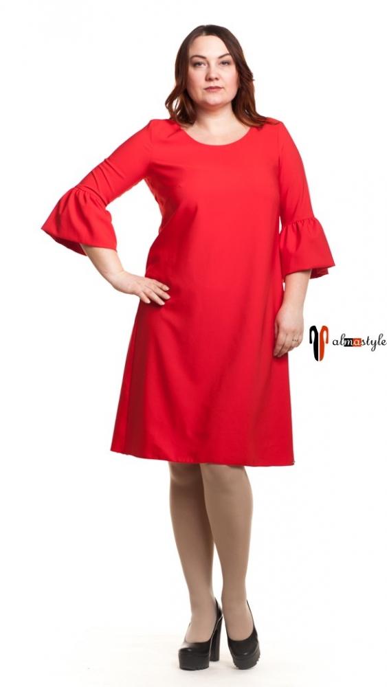 Красное платье-трапеция с рукавом оборкой