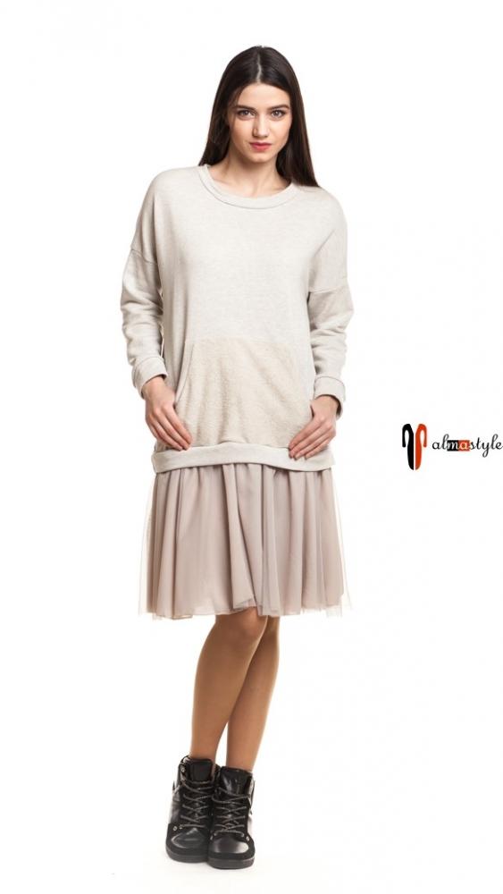 Стильное светло-бежевое платье с сеткой