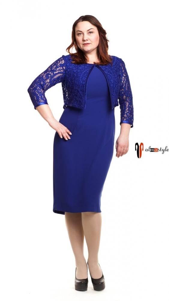 Синее вечернее платье с гипюром